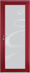 Porte contemporaine prélude rouge aluminium