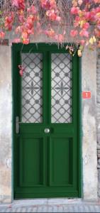 Porte entrée verte décor
