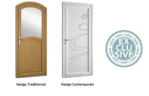 design porte PVC contemporaine et traditionnelle
